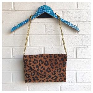 J. Crew Leopard Print Invitation Clutch Chain Bag